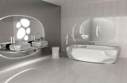 Белый цвет в современной ванной