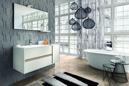 Черный и белый в оформлении ванной комнаты