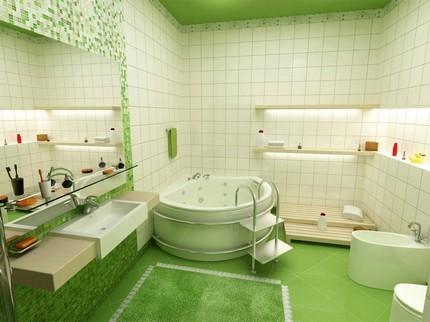 Насыщенный зеленый в ванной