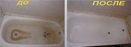 Восстановление эмали ванны наливным методом