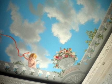 Роспись потолка ванной комнаты в стиле прованс