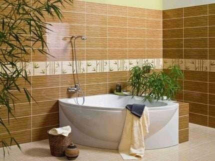 Пестролистный циперус в оформлении ванной комнаты