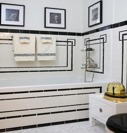 Белый интерьер с черными полосами