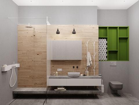 На фоне серых бетонных стен открытый стеллаж зеленого цвета