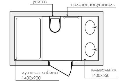 Вариант планировки ванной комнаты