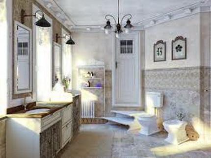 Потолок в ванной комнате в прованском стиле