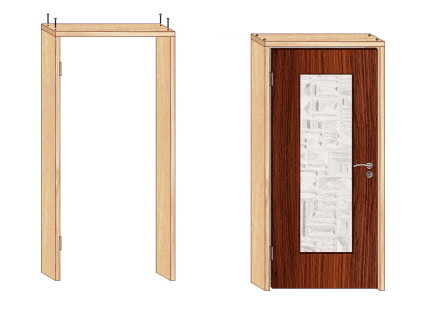 Сборка дверной коробки в ванную комнату