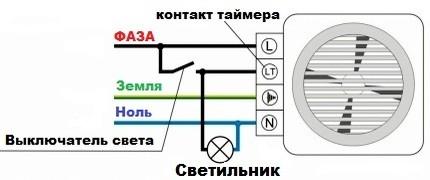 Схема подключения бытового вентилятора с встроенным таймером