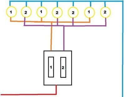 Схема соединения точечных светильников