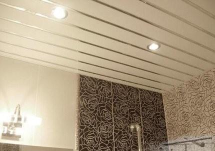 Потолок с серебряными вставками