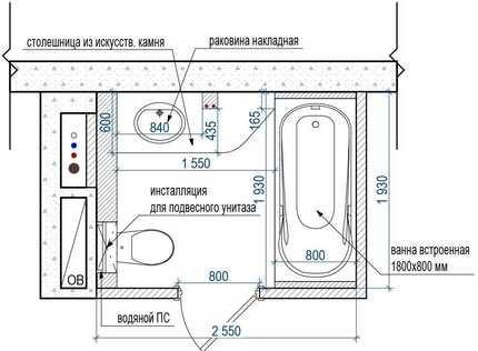 Планировочное решение удачно тем, что позволяет визуально разделить пространство на две зоны: по левую сторону от двери расположен туалет, по правую – ванна для принятия водных процедур