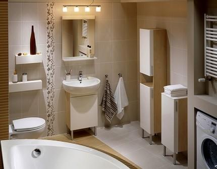 Узкий пенал в интерьере ванной
