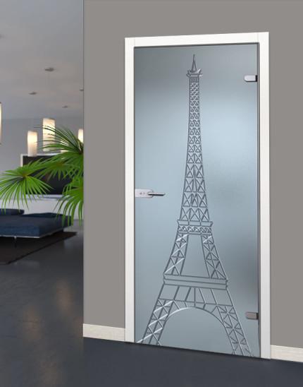 Двери в ванную из стекла с изображением Эйфелевой башни