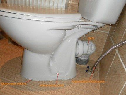 Монтаж напольного углового унитаза