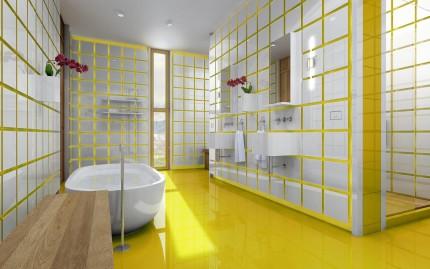 Белая плитка и желтая затирка