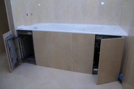 Экран с дверцами для ванны